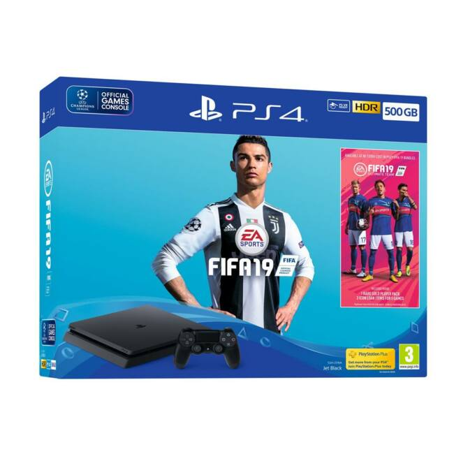 Sony Playstation 4 Slim 500GB + FIFA 19 (UK + EU adapter)