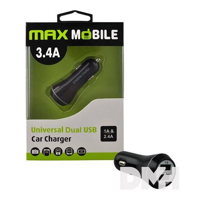 Max Mobile SC-127 3.4A fekete duó USB autós töltő