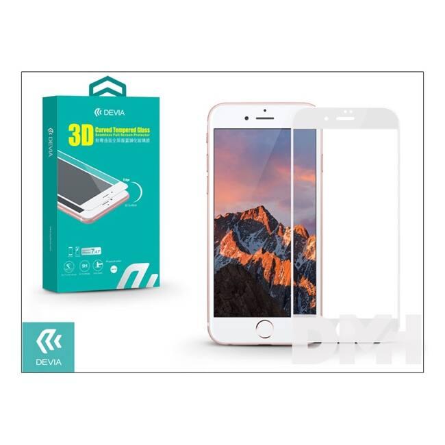 Devia ST995584 iPhone 7+ 3D fehér hajlított üveg képernyő + Crystal hátlapvédő fólia
