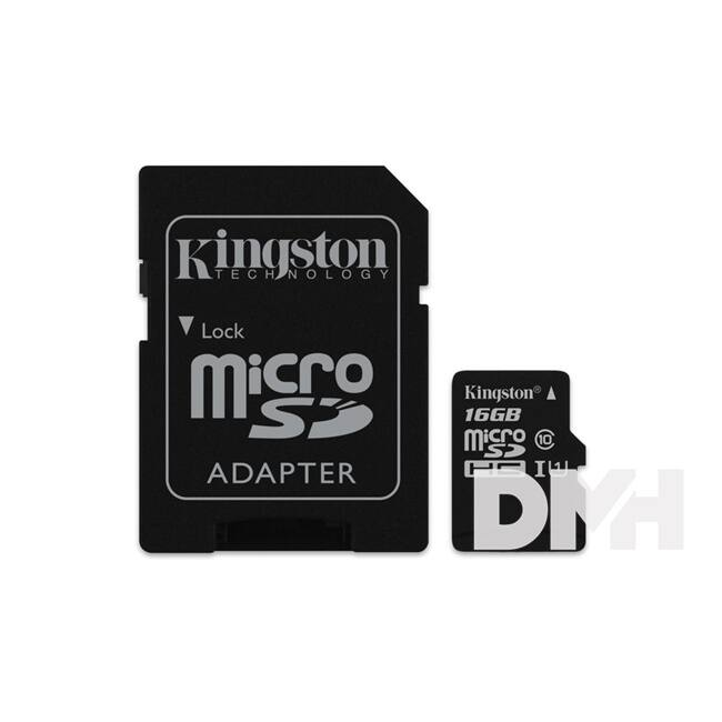 Kingston 16GB SD micro Canvas Select 80R (SDHC Class 10  UHS-I) (SDCS/16GB) memória kártya adapterrel