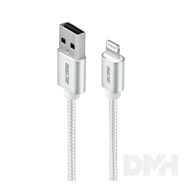 ACME CB2021S Premium 1m MFI Lighting ezüst fonott kábel