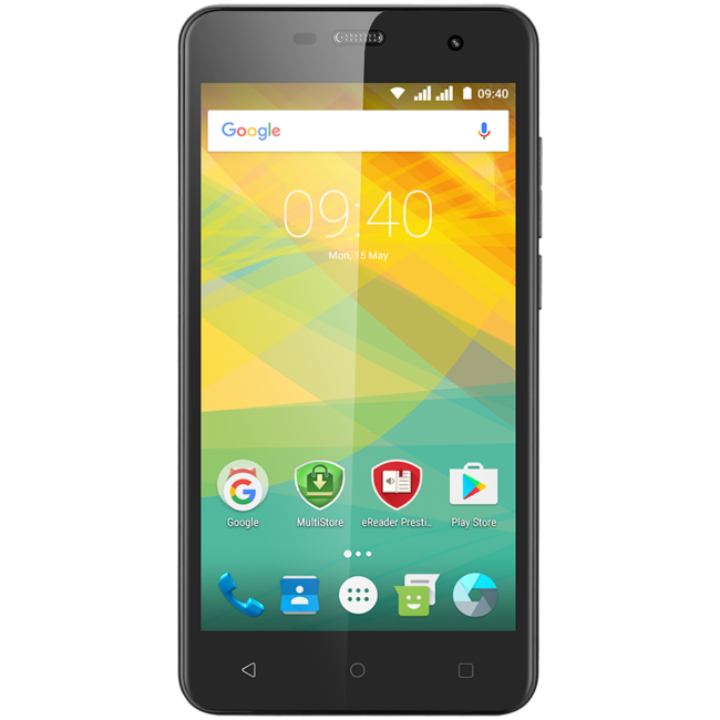"""Prestigio Muze G3 LTE, PSP3511DUO, dual SIM, 4G, 5.0"""" (720*1280) IPS display, Android 6.0 Marshmallow, quad core 1.3GHz, 1GB RAM + 8GB eMMC, 0.3MP front + 8.0MP AF rear camera with LED-flash, 2400mAh battery, black"""