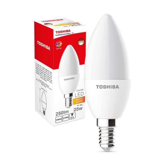 Toshiba melegfényű LED izzó, E14, 3W, 250 lm, A+
