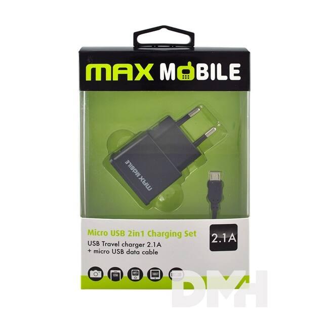 Max Mobile USB + 2.1 A kábel 2in1 szett hálózati töltő