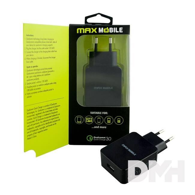 Max Mobile QUALCOMM 3.0 ultra gyors fekete hálózati töltő
