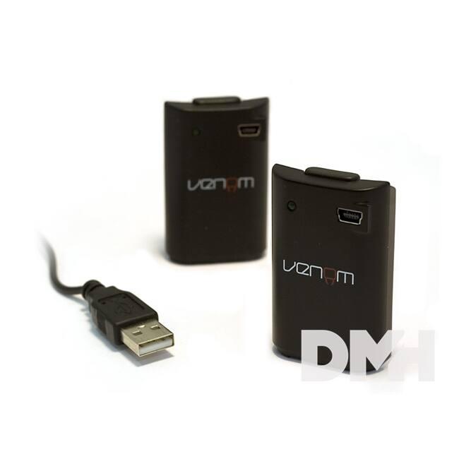Venom VS2894 Xbox 360 fekete akkucsomag (2 db) + 2 méter töltőkábel
