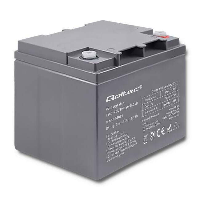 Qoltec Battery AGM | 12V | 45Ah | max.13.5A