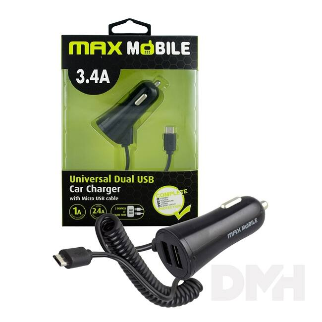 Max Mobile 3.4A univerzális 2xUSB fekete autós töltő Micro USB kábellel