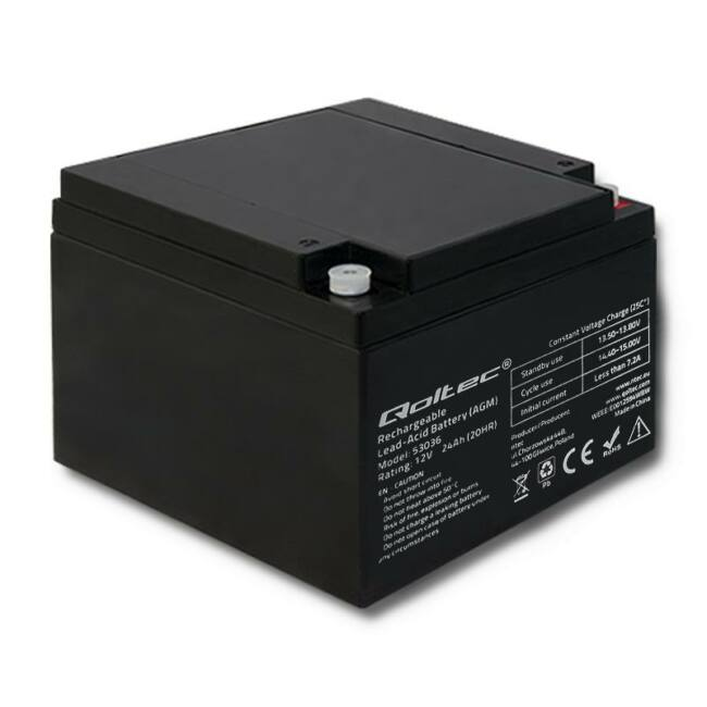 Qoltec Battery AGM | 12V | 24Ah | max.7.2A