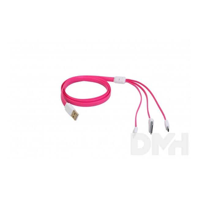 iTotal CM2646P iPhone 4/5/6/6 Plus USB-Micro USB pink 3 az 1 ben USB töltőkábel