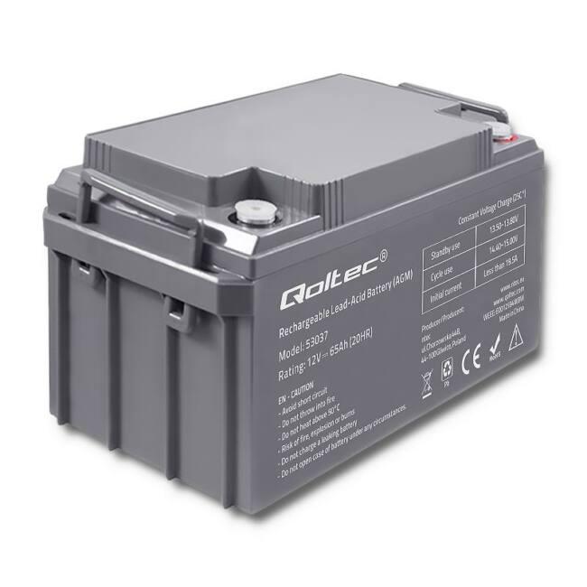 Qoltec Battery AGM   12V   65Ah   max.19.5A