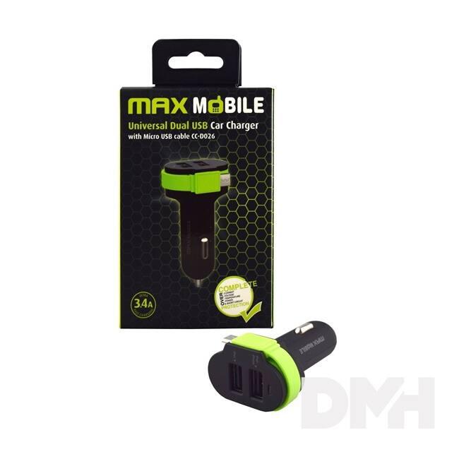 Max Mobile 3.4A univerzális 2xUSB fekete-zöld autós töltő Micro USB kábellel