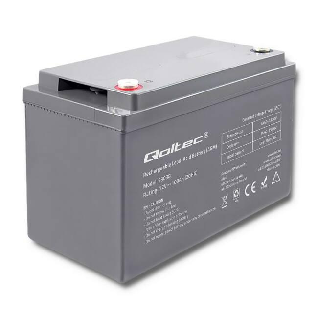 Qoltec Battery AGM | 12V | 100Ah | max.30A