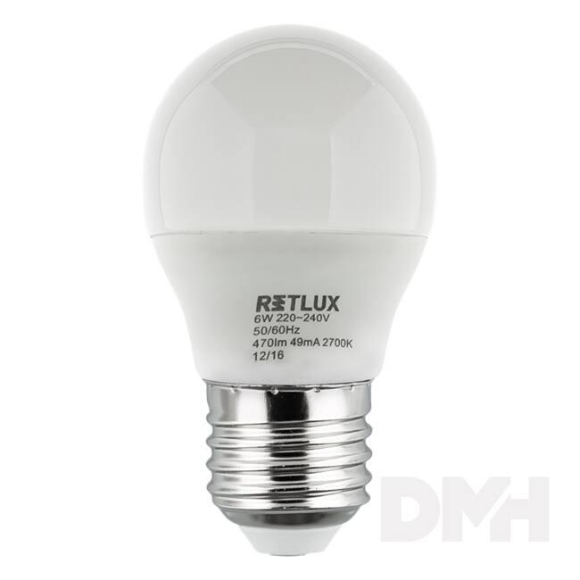 Retlux RLL 265 E27 G45 6W470lumen meleg fehér kis gömb izzó