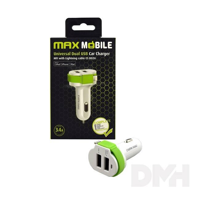 Max Mobile 3.4A univerzális 2xUSB fehér-zöld autós töltő MFI Apple kábellel