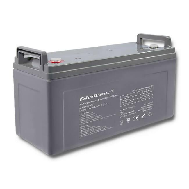Qoltec Battery AGM | 12V | 120Ah | max.36A