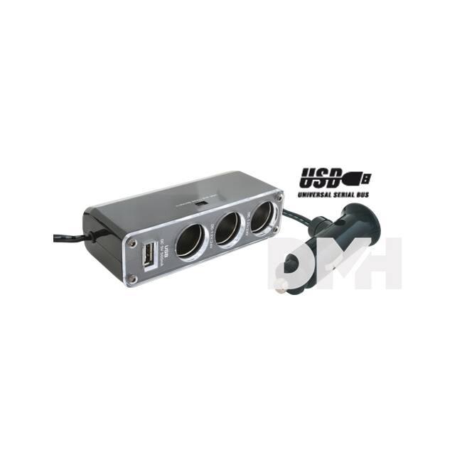 Somogyi SA 023 3-as+USB autós feszültség elosztó