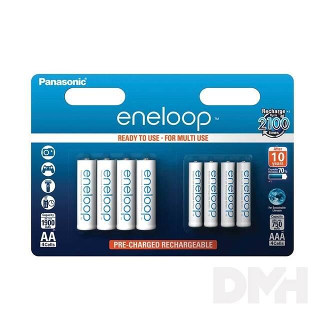 Panasonic Eneloop 4x1900mAh AA ceruza és 4x750mAh AAA mikro ceruza akkumulátor csomag