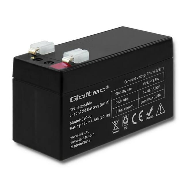 Qoltec Battery AGM | 12V | 1.3Ah | max.0.39A