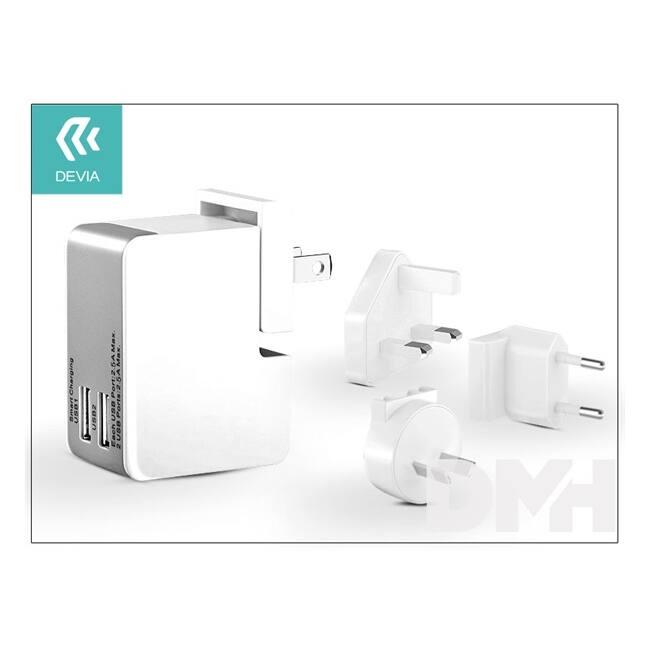 Devia ST982225 POWER TRAVEL KIT 2.5A 2xUSB fehér/szürke hálózati töltő adapter