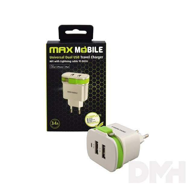 Max Mobile 3.4A univerzális fehér-zöld hálózati töltő MFI Apple kábellel
