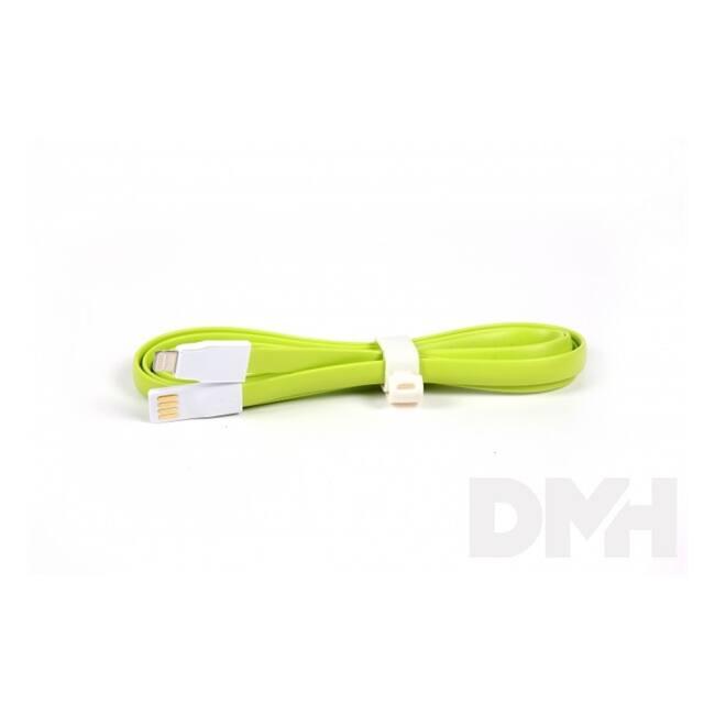 iTotal CM2641G 1m lightning lapos zöld töltőkábel