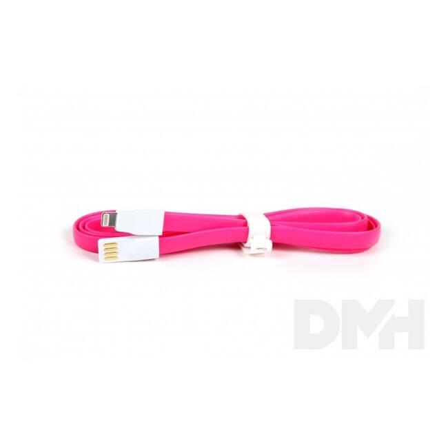 iTotal CM2641P 1m lightning lapos pink töltőkábel