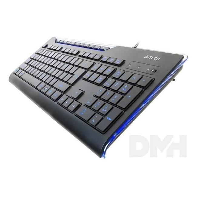 A4-Tech X-Slim KD-800L USB kék ledes HUN fekete billentyűzet