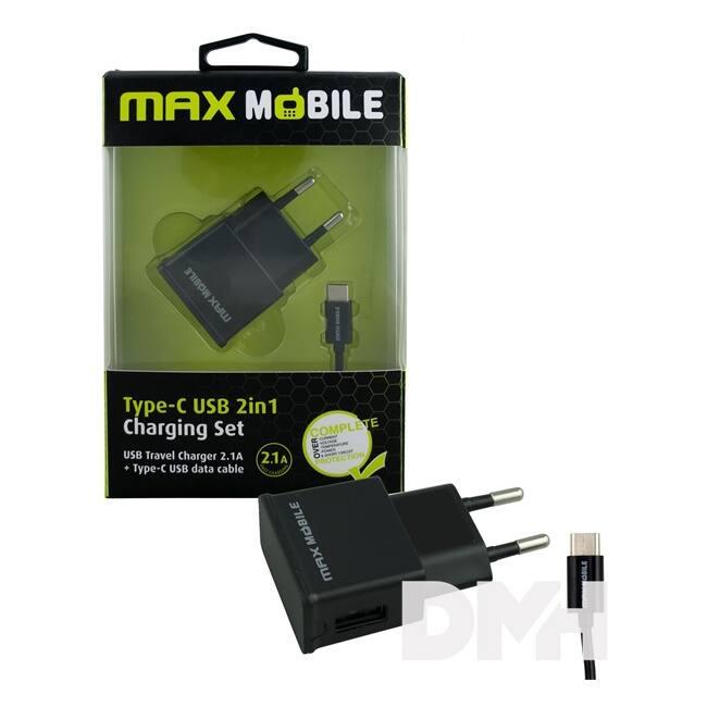 Max Mobile  USB + USB Type C kábel 2.1A 2in1 szett hálózati töltő