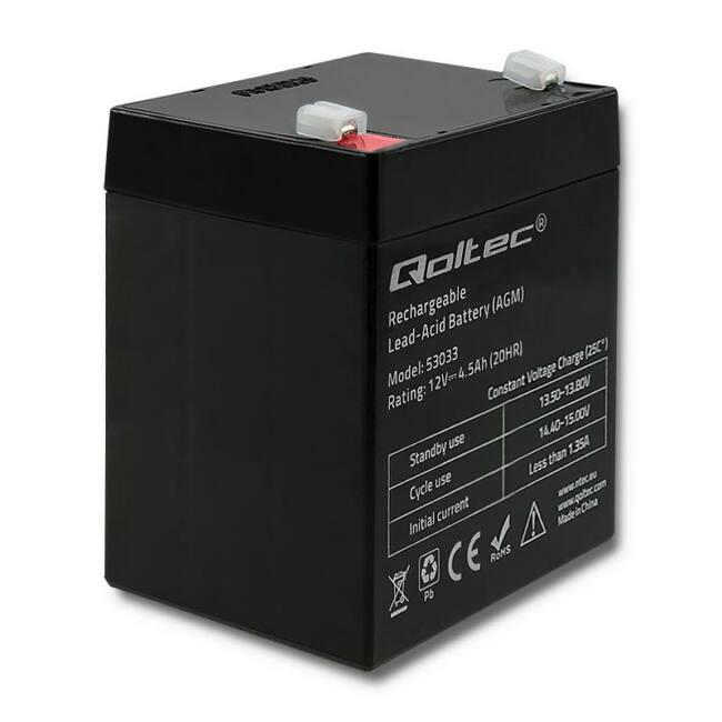 Qoltec Battery AGM | 12V | 4.5Ah | max.1.35A
