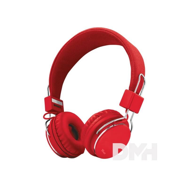 Trust Ziva összehajtható piros headset