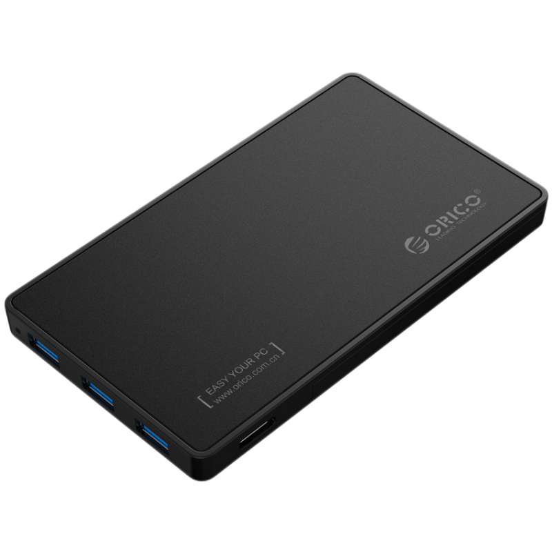 ORICO 2.5 inch Hard Disk Drive enclosure with USB 3.0 HUB and with 5V/2A power adapter (2588H3), Black