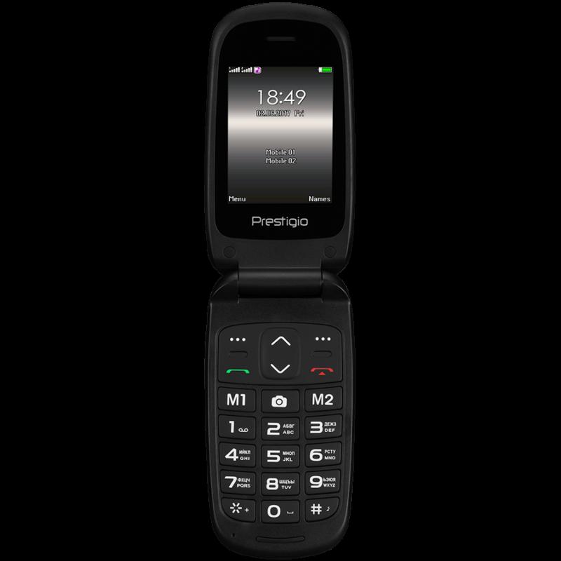 Prestigio Grace B1, 2.4''(240*320) 2.5D display, Dual SIM, 32MB DDR, 32MB Flash, 0.3MP rear cammera, 750mAh battery, EN keyboard, color/Black
