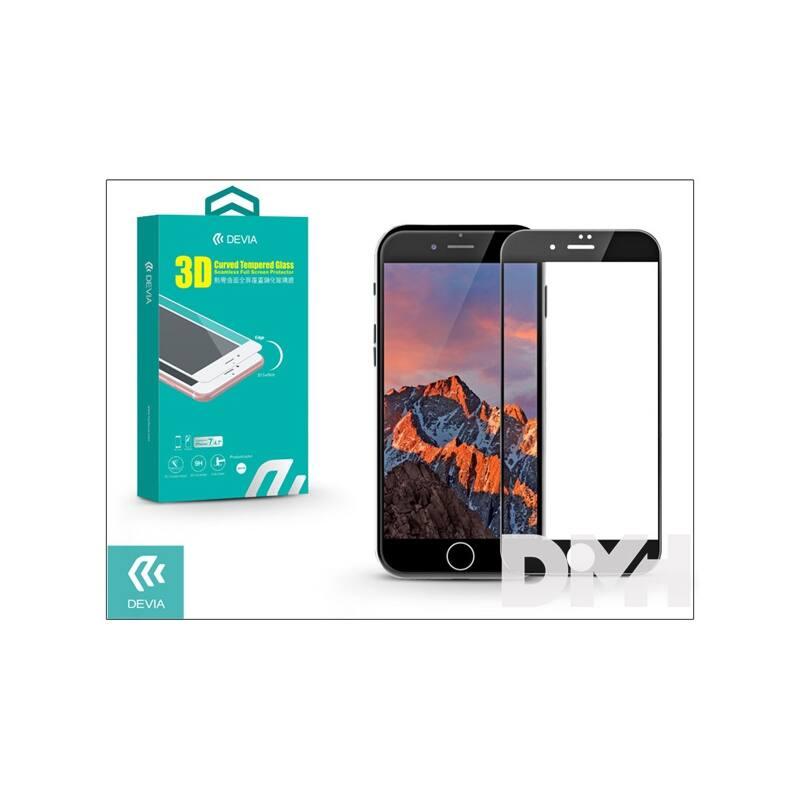 Devia ST995577 iPhone 7+ 3D fekete hajlított üveg képernyő + Crystal hátlapvédő fólia